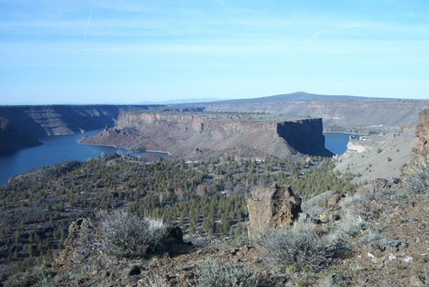 A view of Lake Billy Chinook, Ore., with a view of The Cove Palisades State Park facilities below. - IAN POELLET