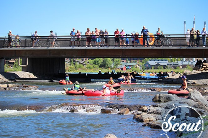People float through the Whitewater Park on the Deschutes River near the Old Mill District. - BEND PARK AND RECREATION DISTRICT