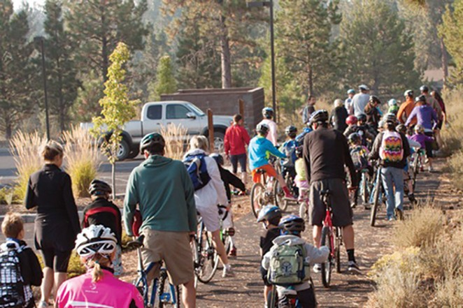 Students at Bend's Miller Elementary Schoolenjoy an active commute to school. - PHOTO BY LUCAS FREEMAN