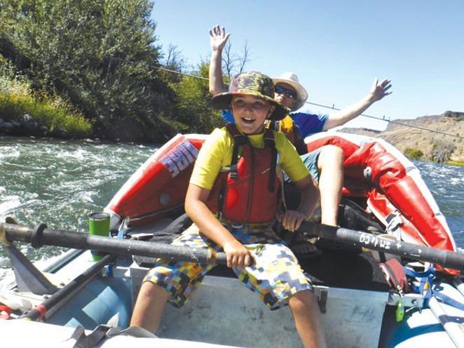 Jake Heron, in digital camo, just before his rattlesnake encounter on the Lower Deschutes River. - SUBMITTED