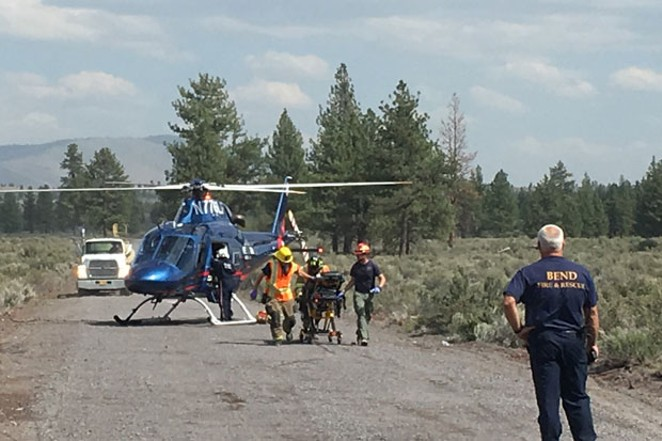 Teens injured in a one-vehicle accident were airlifted to St. Charles. - DESCHUTES COUNTY SHERIFF'S OFFICE