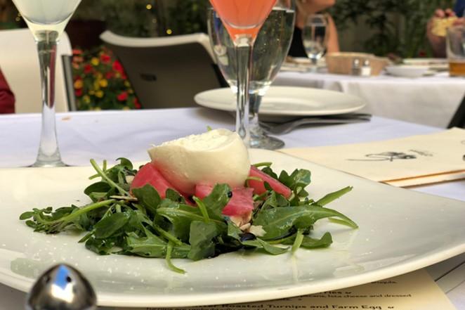 Jackalope dishes include, from left: arugula-beet-burrata salad; jaeger schnitzel; and French tarte tatin. - LISA SIPE