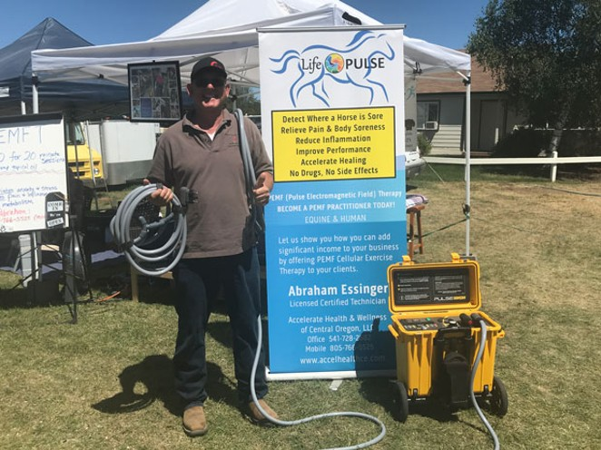 Abraham Essinger performs PEMF therapy on horses, small pets and humans in Central Oregon. - ANNE PICK