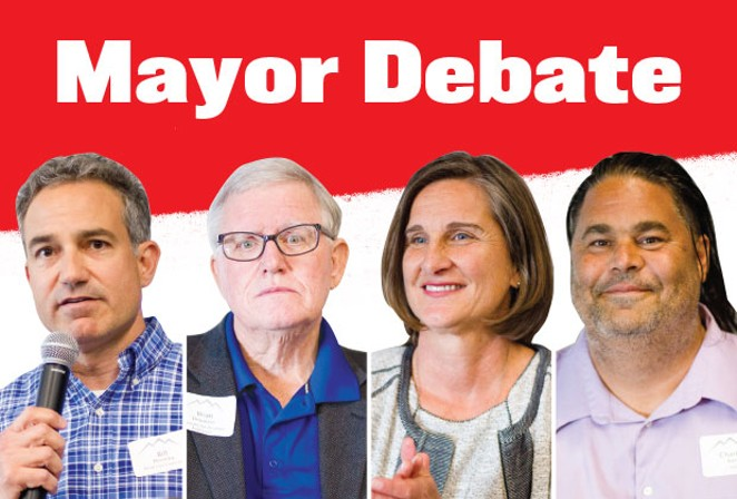 Bend mayoral candidates Bill Moseley, Brian Douglass, Sally Russell and Charles Baer squared off at Bend's first-ever mayor debate with the Bend Chamber Aug. 14. - JOSHUA LANGLAIS