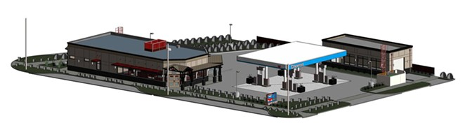 An architectural drawing of the proposed gas station and car wash. - SUBMITTED