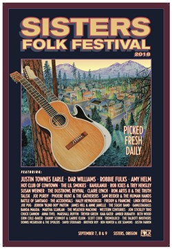Dennis McGregor's Sisters Folk Fest poster for 2018 was inspired by traditional art used on fruit crates. - SUBMITTED