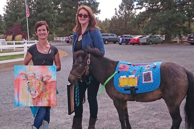 JM Broderick and Kelly Thiel create art of animals at Healing Reins to raise money for the ranch. - SUBMITTED