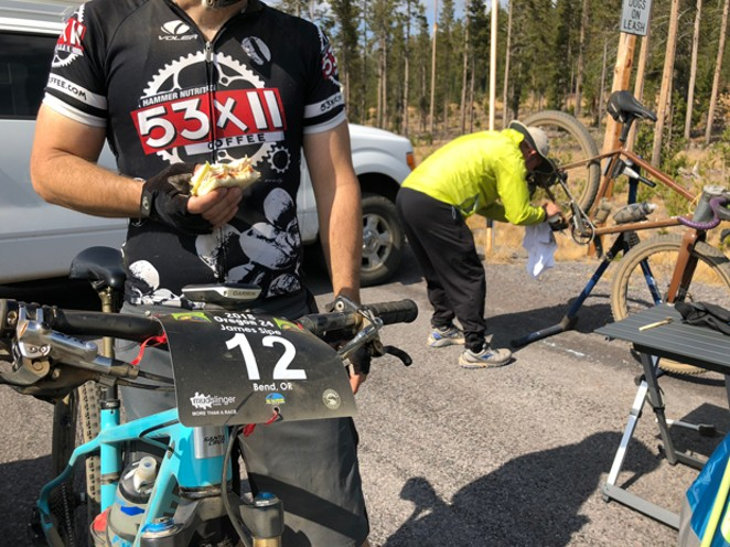 Grabbing a sandwich before heading out for a lap at the Oregon 24. - LISA SIPE