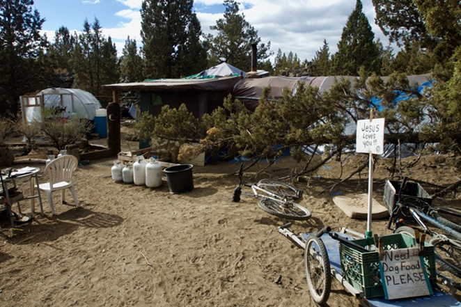 One of the 25 homeless camps in Juniper Ridge. - CHRIS MILLER