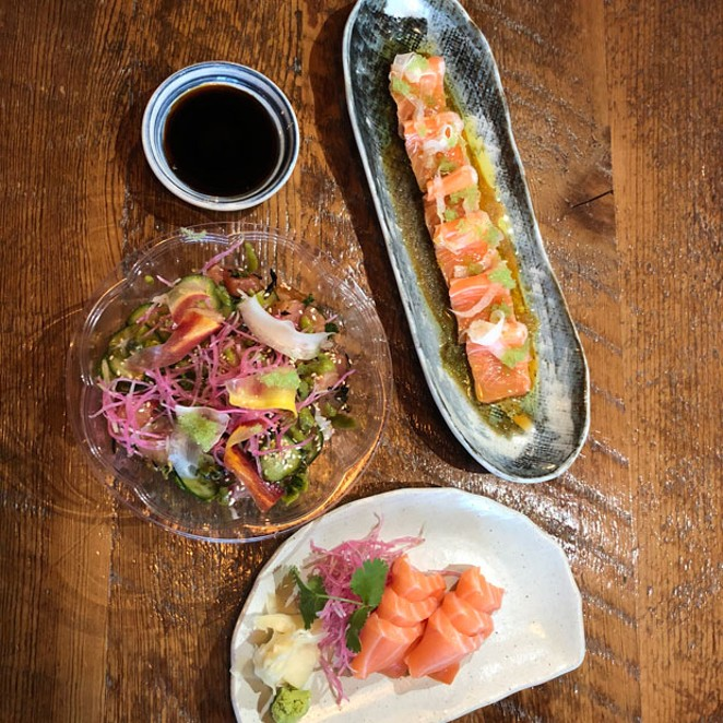 The beautiful plating at Kusshi is an invitation to savor each combination of raw fish. - LISA SIPE