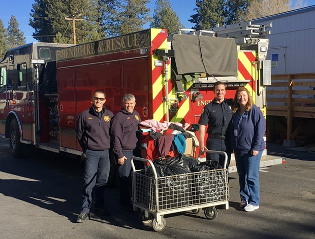 City of Bend Fire crews during a clothing drive. - CITY OF BEND FIRE DEPARTMENT