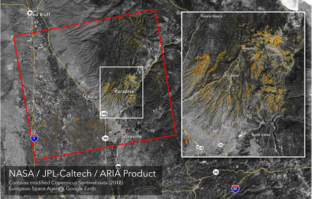 A map of damage from the fire near Chico and Paradise, Calif. - NASA