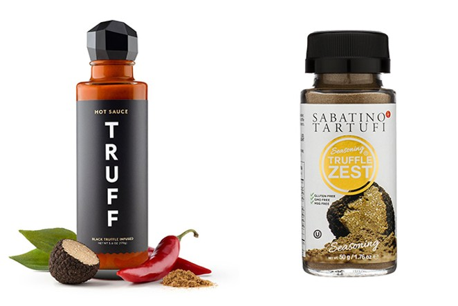 Read the label, truffle aroma, truffle flavor or truffle concentrate usually means the product doesn't contain real truffles. This Truff hot sauce has both. - LISA SIPE