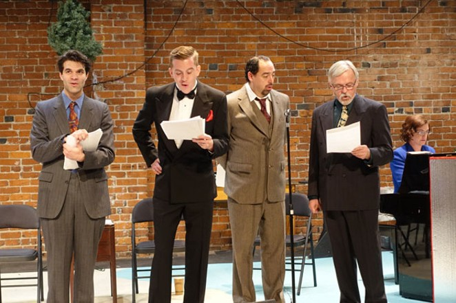 From left, Thomas Avery, Craig Brauner, Brad Knowles and Rick Jenkins rehearse a scene, with Music Director Janelle Musson at the piano, at right. - ELIZABETH WARNIMONT