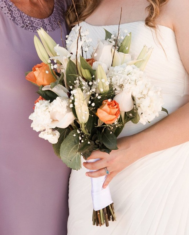 Bridal bouquet, crafted by the fine florists at Safeway of Flagstaff, Ariz. - VICTORIA NABOURS / WHITE DESERT PHOTOGRAPHY