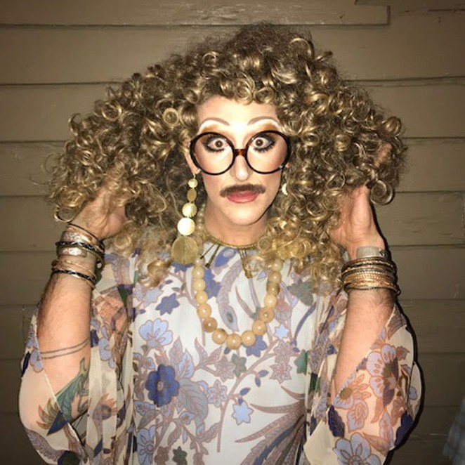 D'Auntie Carol takes pride in sporting a mustache with her fab fem look. - JAMES GRAY