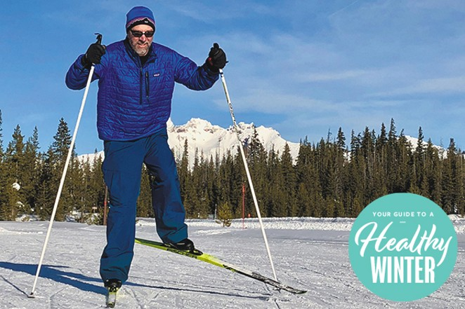 The author practices skate skiing on the Training Oval with Broken Top in the background. - DAVID LAWRENCE