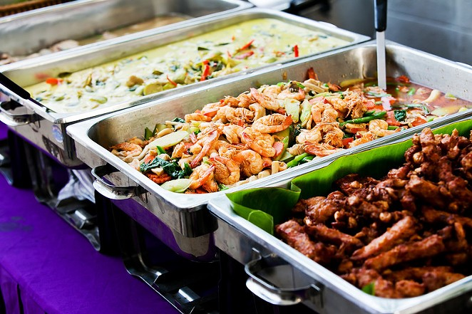 A Thai food buffet. - CANSTOCKPHOTO.COM