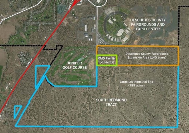 A map shows the boundary of the new industrial zoned land and the expansion of the Deschutes County Fairgrounds. - CITY OF REDMOND