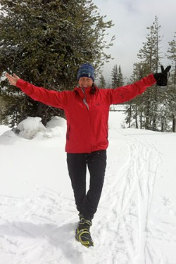 Julie Southwell celebrates the powder posing in skate ski boots. - SUBMITTED-JULIE SOUTHWELL