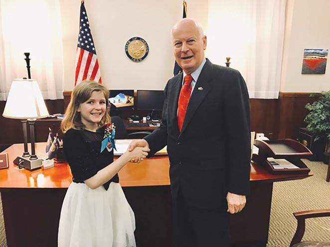Oregon Secretary of State Dennis Richardson congratulating Oregon's Kid Governor, Erikka Baldwin. - SUBMITTED