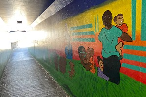 Mural Takes Shape in Franklin Tunnel