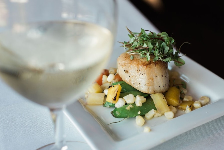 Scallops in truffle oil at Tetherow. - PHOTOGRAPHY IN BEND