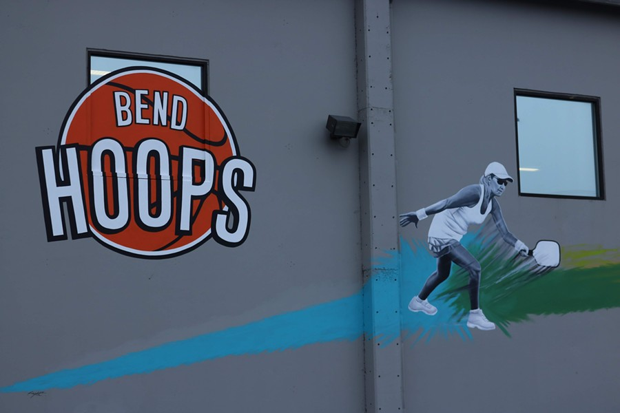 Eye-catching murals on the Bend Hoops building. - DAMIAN FAGAN