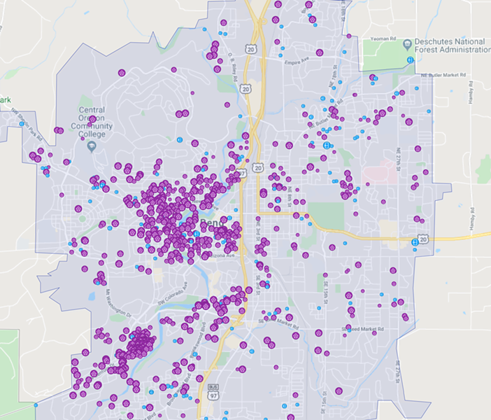 Bend's high density of vacation rentals contributes to the scarcity of middle-income housing. - AIRDNA