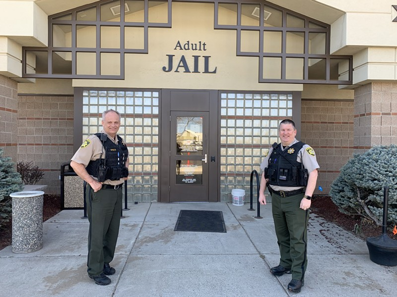 From left: Captain Michael Shults and Lieutenant Michael Gill stand in front of the Deschutes County Adult jail. - MICHAEL SHULTS