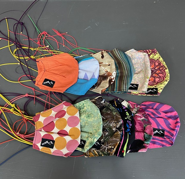 A colorful assortment of face masks - one for every day of the week! - OUTSIDE IN
