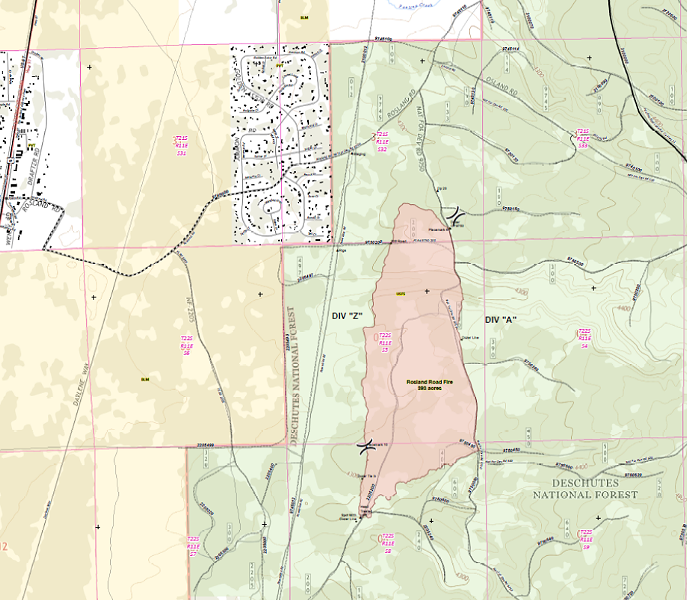 A map of the area of the 393-acre Rosland Road Fire near La Pine. - DESCHUTES NATIONAL FOREST
