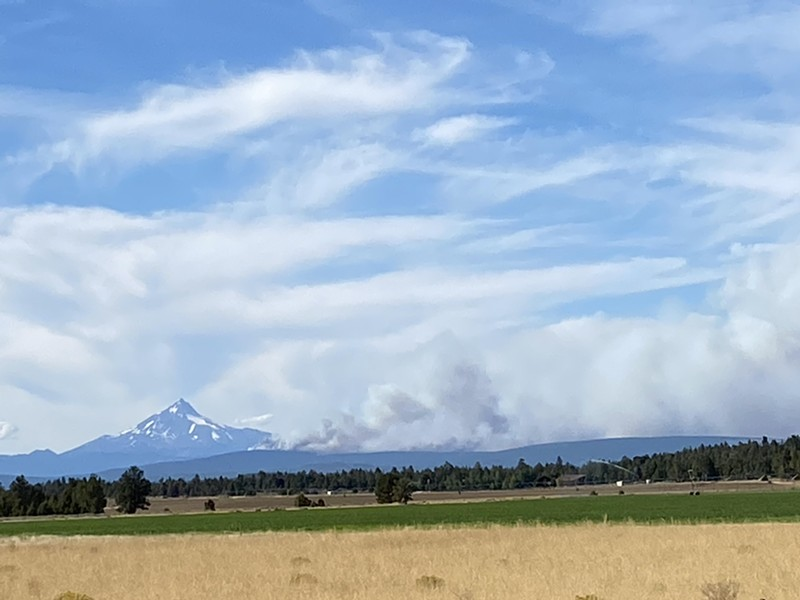 Photo of the Green Ridge Fire with smoke billowing east from Black Butte. - NICOLE VULCAN
