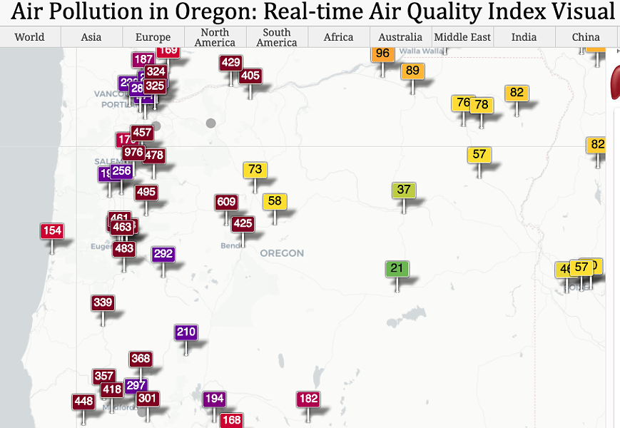 Air quality conditions as of Friday morning in Oregon. - AQICN.ORG