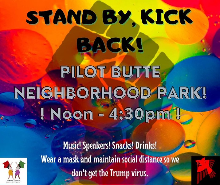 """Announcement for """"Stand by, Kick back!"""" gathering at Pilot Butte posted at 5:13 am on Oct. 3. - CENTRAL OREGON PEACEKEEPERS"""