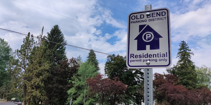 A sign showing that only residents can park in the Old Bend District are displayed throughout. Bend Parking Services Manager Tobias Marx said that more clear signage was one of the most frequent recommendations given in parking surveys of the area.