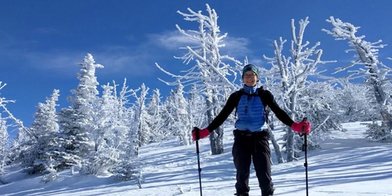 Jess Beauchemin snowshoeing on Black Butte.