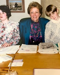 The author's children, Molly Dugan, left, and Daniel Dugan, right, in 1991, on the day they served as legislative pages for now-Secretary of State Bev Clarno, center.