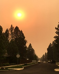 Oregon is on fire, and that means poor air quality and lots of smoke for many communities around the state, including this shot from Bend Monday. On Tuesday, Gov. Kate Brown invoked the Emergency Conflagration Act in response to the Beachie Creek and Lionshead fires in the Santiam Canyon and Jefferson County, and the Holiday Farm Fire near McKenzie Bridge—fires that saw significant spread due to heavy winds.