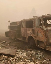 The remains of the Idanha-Detroit Rural Fire Protection District's old fire truck, destroyed  by the Beachie Creek Fire.