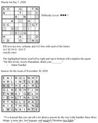 Pearl's Puzzle -  Week of Dec. 7
