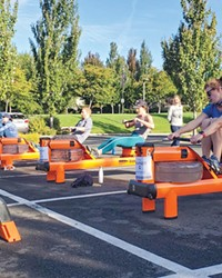 Earlier in the pandemic, Orange Theory moved its rowers outdoors.