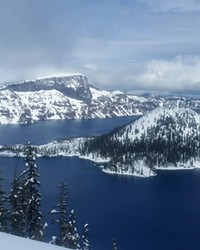 A spectacular winter view across Crater Lake from the West Rim Drive.