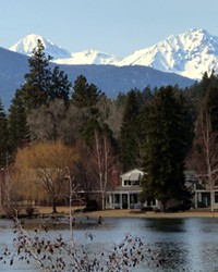 The classic shot: The Three Sisters mountains from the shores of Mirror Pond.