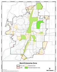 A map of the updated Enterprise Zones in Bend, illustrated in beige, show much territory being ceded across the city. The light green zones represent continuing Enterprise Zones and dark green as newly designated zones. Though a lot of Enterprise Zones will be lost, the city's largest industrial areas will maintain their status.