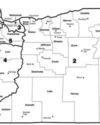Oregon's current five Congressional Districts.