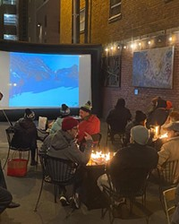 One of the many alley screenings put together by Tin Pan and BendFilm, in cooler times.