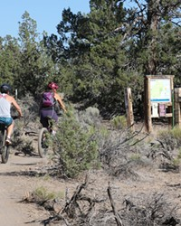 Bike riders head out onto the Maston trail system.
