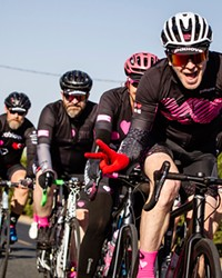 Cyclists take on the 2019 Pablove Across America route with smiles and in classic Pablove pink.