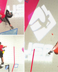 Brady Pfeiffer, Mila Capicchioni and Leah Pfeiffer compete at the USA Climbing Youth Bouldering National Championships in Wisconsin.